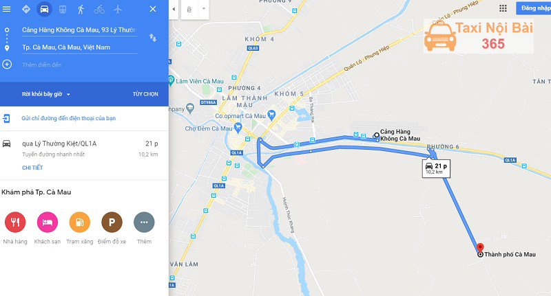 Khoảng cách sân bay Cà Mau đến trung tâm thành phố