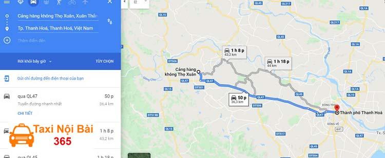 Quãng đường và thời gian đi từ sân bay Thọ Xuân về trung tâm thành phố