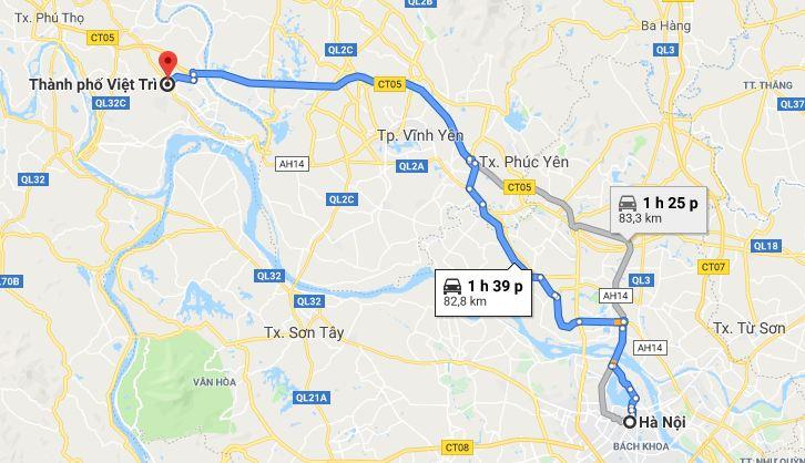 Di chuyển từ Hà Nội đi Phú Thọ bằng xe máy, ô tô cá nhân